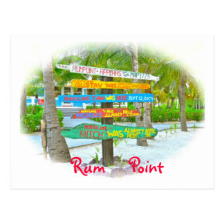 Colorful Signs at Rum Point  Grand Cayman Postcard