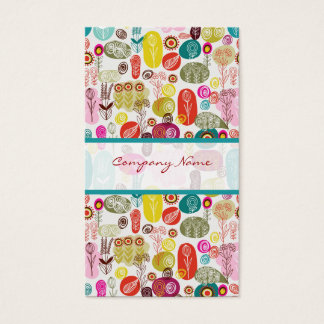 Colorful Simple Hand Drawn Retro Flowers Pattern 3 Business Card