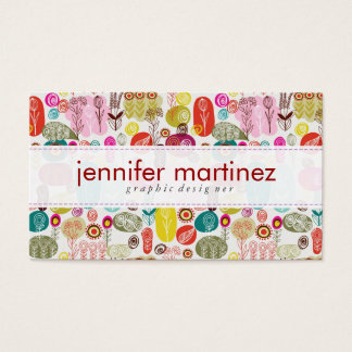 Colorful Simple Hand Drawn Retro Flowers Pattern 4 Business Card