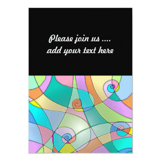 Colorful Simulated Stained Glass in Pastels 13 Cm X 18 Cm Invitation Card