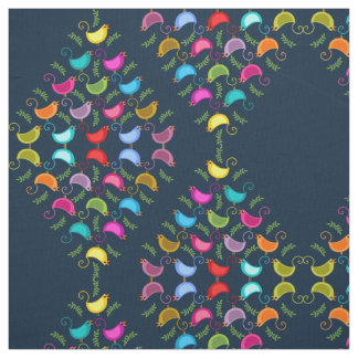 Colorful Singing Birds Pattern Fabric