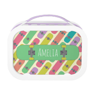 Colorful Skateboard Pattern Lunch Box