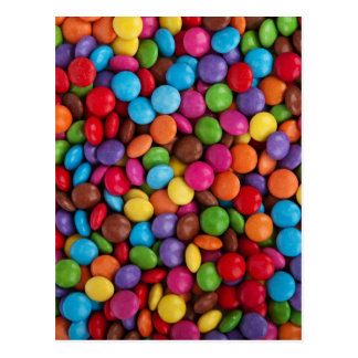 Colorful skittles candy postcard