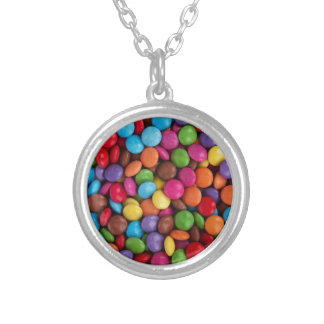 Colorful skittles candy silver plated necklace