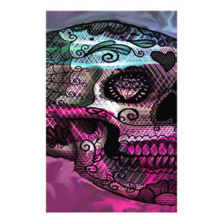 colorful skull, abstract graphic personalized stationery