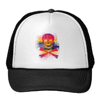 colorful skull and crossbones trucker hat