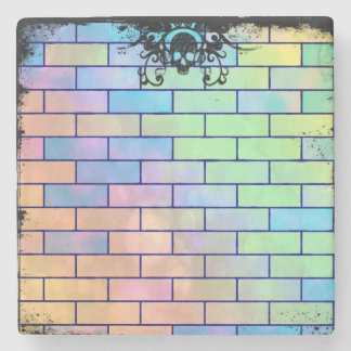 Colorful Skull Bricks Stone Coaster