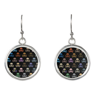 Colorful Skull & Crossbones Earrings
