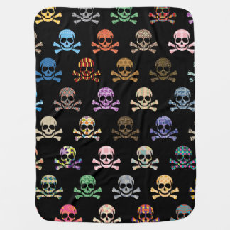 Colorful Skull & Crossbones Pram blanket