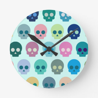 Colorful Skull Cute Pattern Clocks