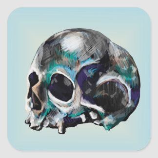 Colorful Skull Illustration Stickers
