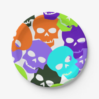 Colorful Skulls 7 Inch Paper Plate