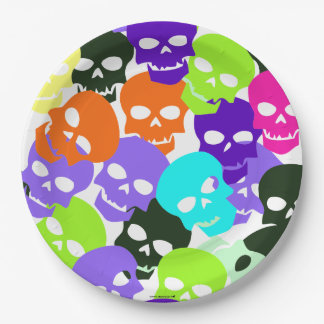 Colorful Skulls 9 Inch Paper Plate
