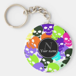 Colorful Skulls Basic Round Button Key Ring