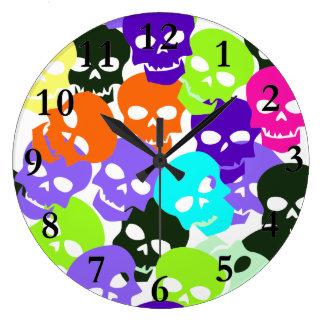 Colorful Skulls Clock