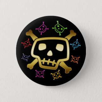 COLORFUL SKULLS & CROSSBONES 6 CM ROUND BADGE