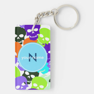 Colorful Skulls Double-Sided Rectangular Acrylic Key Ring