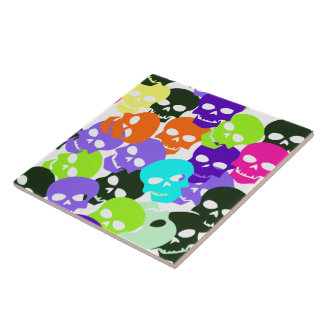Colorful Skulls Large Square Tile