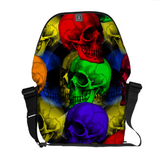 colorful skulls commuter bags