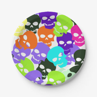 Colorful Skulls Paper Plate
