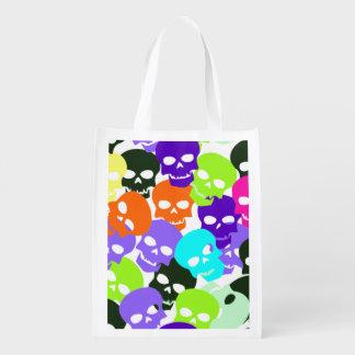 Colorful Skulls Reusable Grocery Bag