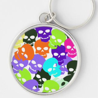 Colorful Skulls Silver-Colored Round Key Ring