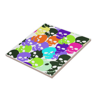 Colorful Skulls Small Square Tile