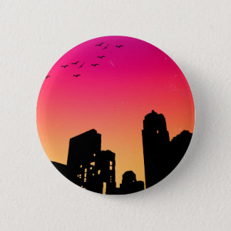 Colorful Sky w/ Birds and Buildings Silhouette 6 Cm Round Badge