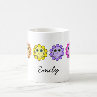 Colorful Smiley Face Flowers Personalized Coffee Mug