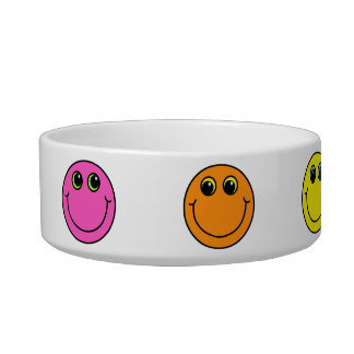 Colorful Smiley Faces Cat Water Bowl