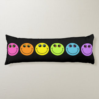 Colorful Smiley Faces on Black Body Cushion