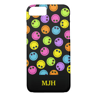Colorful Smiley Faces on Black Monogram iPhone 7 Case