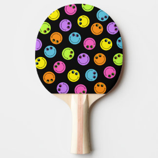 Colorful Smiley Faces on Black Ping Pong Paddle