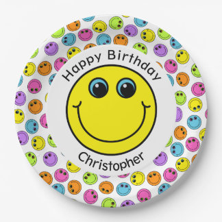 Colorful Smiley Faces Personalized Party 9 Inch Paper Plate