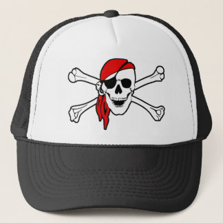 Colorful Smiling Pirate Skull and Crossbones Trucker Hat