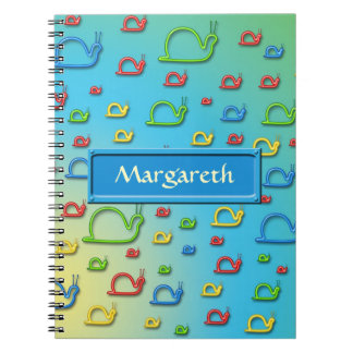 Colorful snails everywhere spiral notebook