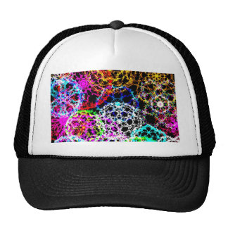 colorful snow crystals graphics on black fun mix trucker hat