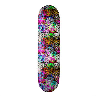 colorful snow crystals graphics on black fun mix skate deck