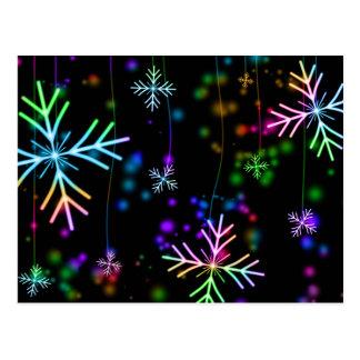 Colorful snowflake Christmas pattern postcard