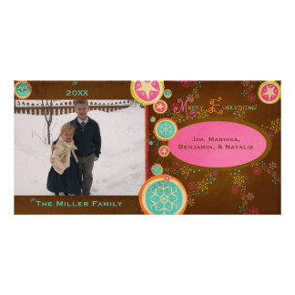 Colorful Snowflakes on Brown Holiday Photo Card