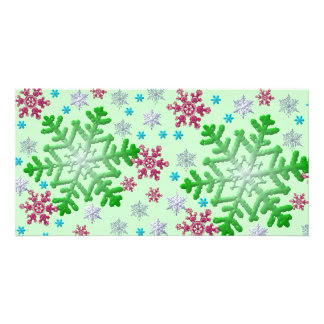 Colorful Snowflakes on Green Photo Card