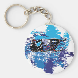 Colorful Snowmiobile Catching a High Drift Keychains