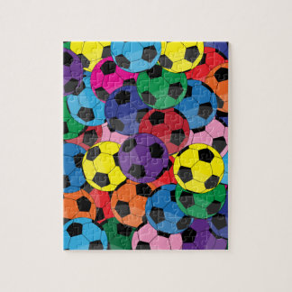 Colorful Soccer Ball Collage Jigsaw Puzzles