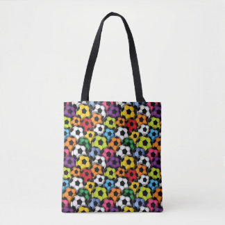 Colorful Soccer Balls All-Over Print Tote Bag