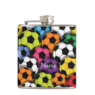 Colorful Soccer Balls Design Flask