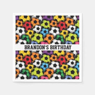 Colorful Soccer Balls Design Paper Napkins
