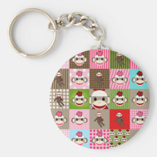 Colorful Sock Monkey Patchwork Basic Round Button Key Ring