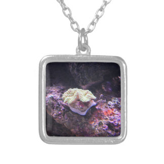 Colorful Soft Coral And Live Rocks Silver Plated Necklace