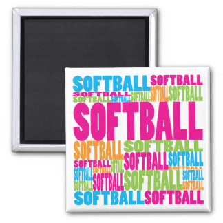 Colorful Softball Square Magnet