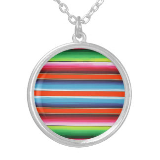 Colorful Spanish Serape Fiesta Mexican Blanket Silver Plated Necklace